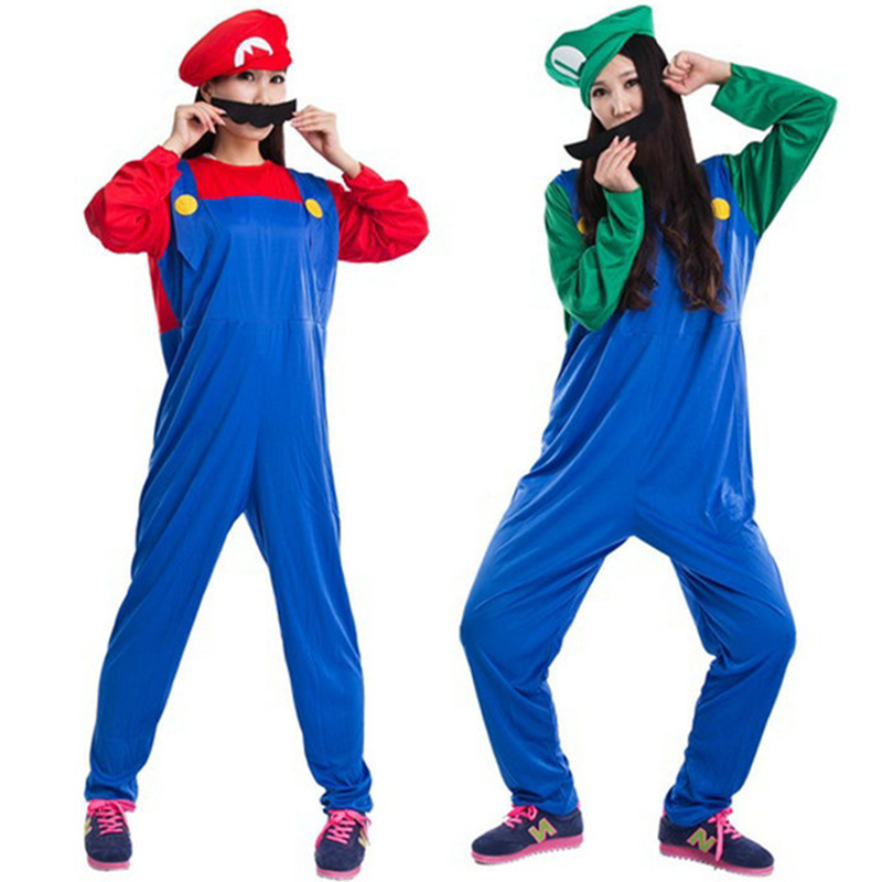 Mario Brother Masquerade halloween Party Onesie cloth cosplay adult costume kit with hat beard Mario Onesie Jumpsuit {4 size }