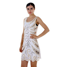 BLINGSTORY Europe New Design Slim Retro Heavy Embroidery Flower Loose Sequined Dress for Women Dropshipping KR3078-1