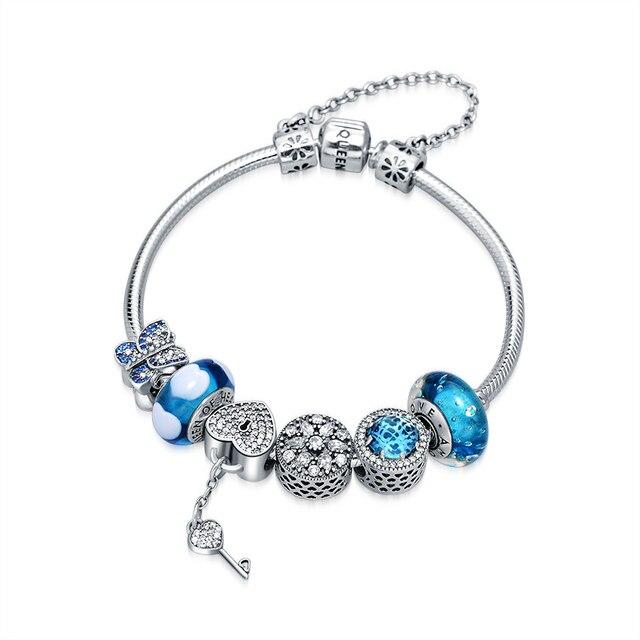 QUEEN OF HEART Fine Jewelry European Style 925 Sterling Silver Charm Bracelets Blue Heart Beaded Bracelet A5