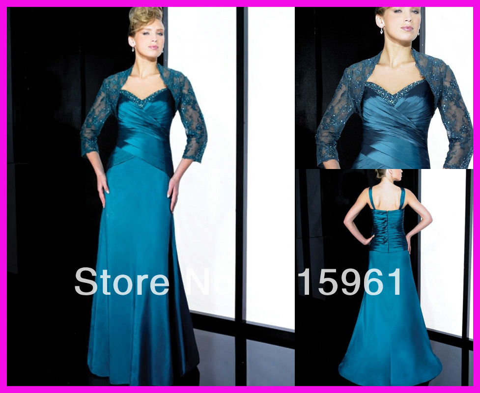 vestido de madrinha Hot Sell Beaded 2018 Mother of the Bride/Groom Dresses Gowns With Long Sleeve Lace Jacket