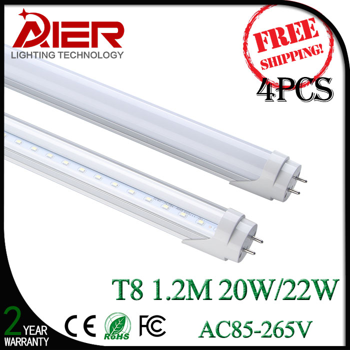 4pcs <font><b>1200mm</b></font> t8 <font><b>led</b></font> tube lighting 20/22Watt with high bright 96/120pcs SMD2835 free shipping by fedex