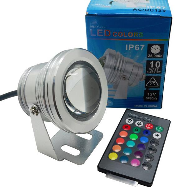 12V 10W RGB LED Underwater Light Waterproof IP68 Fountain Swimming Pool Lamp 16 Colorful Change With 24Key IR Remote