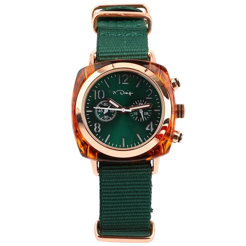 Top Luxury Brand Stripe Nylon Band Mens Women Geneva Platimum Watches Nylon Wrist Watch Quartz Watch Hours Clock Reloj Mujer