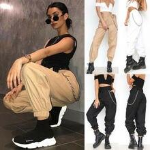 Womens Cargo Pants Elastic Waist Jogger Skinny Trousers Side Pockets Sweatpants