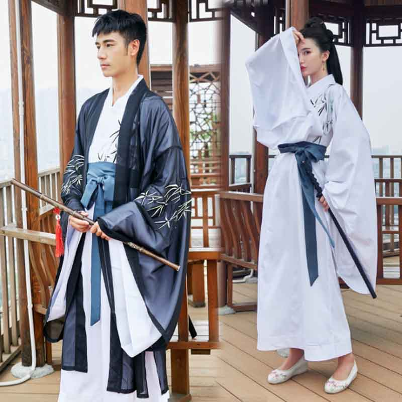Couples Hanfu Chinese Ancient Traditional White/Black Set Fantasia Adult Halloween Carnival Costume For Women/Men Plus Size