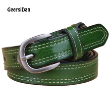 GEERSIDAN Genuine Leather belt for women high quality retro cowskin pin buckle Fashion decoration thin youth strap