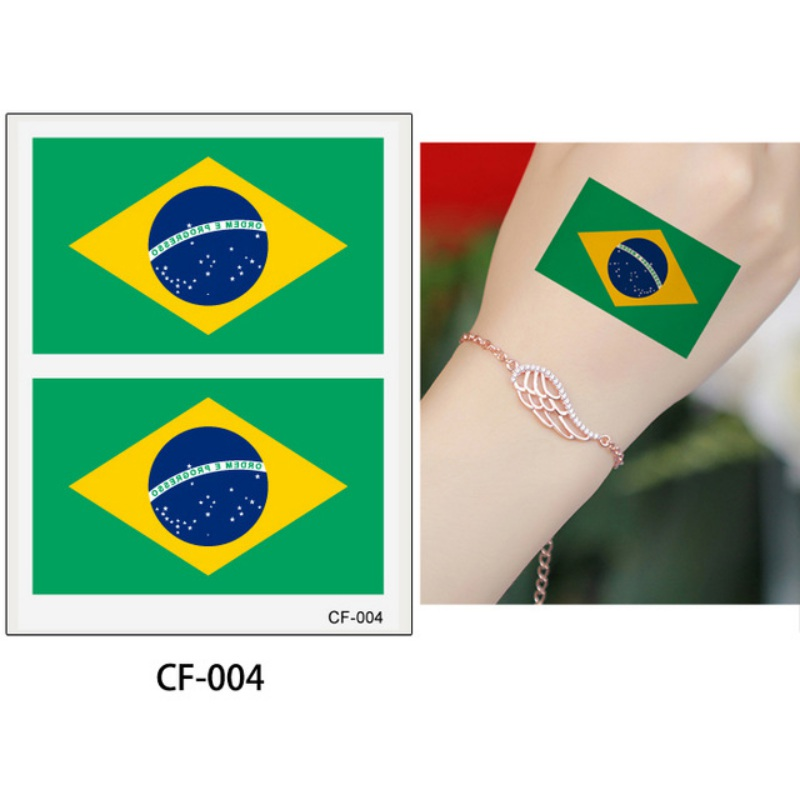 2018 Soccer World National Cup 10PCS Flag Tattoo Waterproof Sweatproof Stickers 6*8cm National Flags Cheer Fans Tattoo Stickers