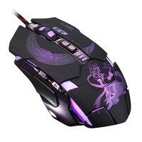 RAJFOO Mute Gaming Mouse 3200 ТОЧЕК/ДЮЙМ с 4 Регулировка Уровня 4 Цвет Дыхание Подсветка 7 Ключ Умный Макроопределение Gamer Mause