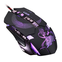 RAJFOO Mute Gaming Mouse 3200DPI With 4 Level Adjustment 4 Color Breathing Backlight 7 Key Smart