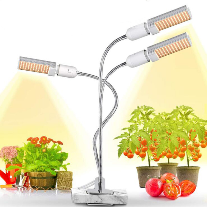 Full Spectrum 3 Head Bulbs Three Heads Phyto Lamp Holder LED Grow Light Lamps USB Timer Growbox Growing Greenhouse Indoor Plants