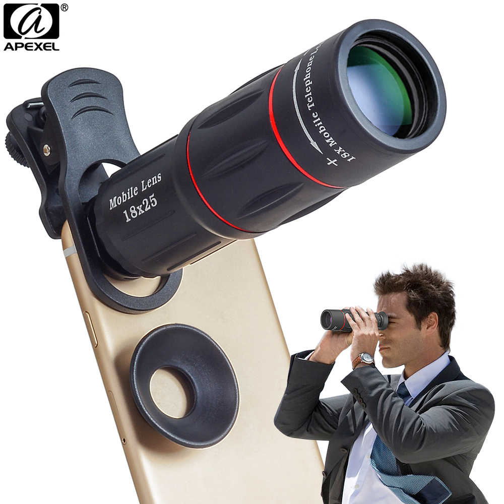 APEXEL Camera Lens 18X Telescope Zoom Telescope Mobile Phone Lens With clips Universal for iPhone Xiaomi Smartphones APL-18XT