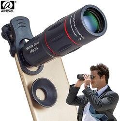 APEXEL Lente Da Câmera 18X Telescópio Zoom Telescópio Lente Do Telefone Móvel Com clips Universal para iPhone Xiaomi Smartphones APL-18XT