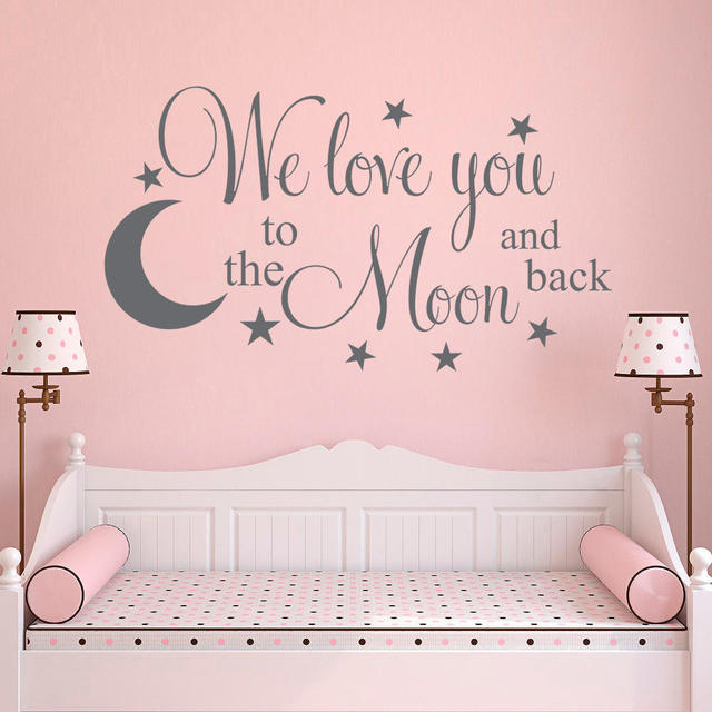 Nursery Wall Decal Removable Stickers Moon Star Vinyl Decoration Art Lettering Kids Bedroom