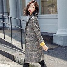 2018 Autumn new style woollen coat medium loose cotton overcoat for student