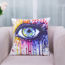 Colored Home Cotton Linen Pillow Case Waist Throw pillow cover  Eyes Painting