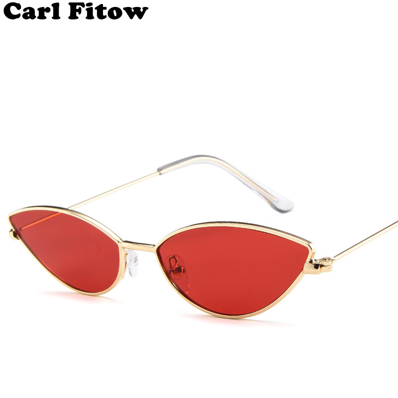 Carl Fitow Cute Sexy Ladies Cat Eye Sunglasses Women Metal Frame 2019 Vintage UV400