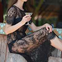 Women Lace Dress Casual Maxi Dresses Long Lace Black Short Sleeve O Neck See Through Beach Wear Fringed Party Dresses