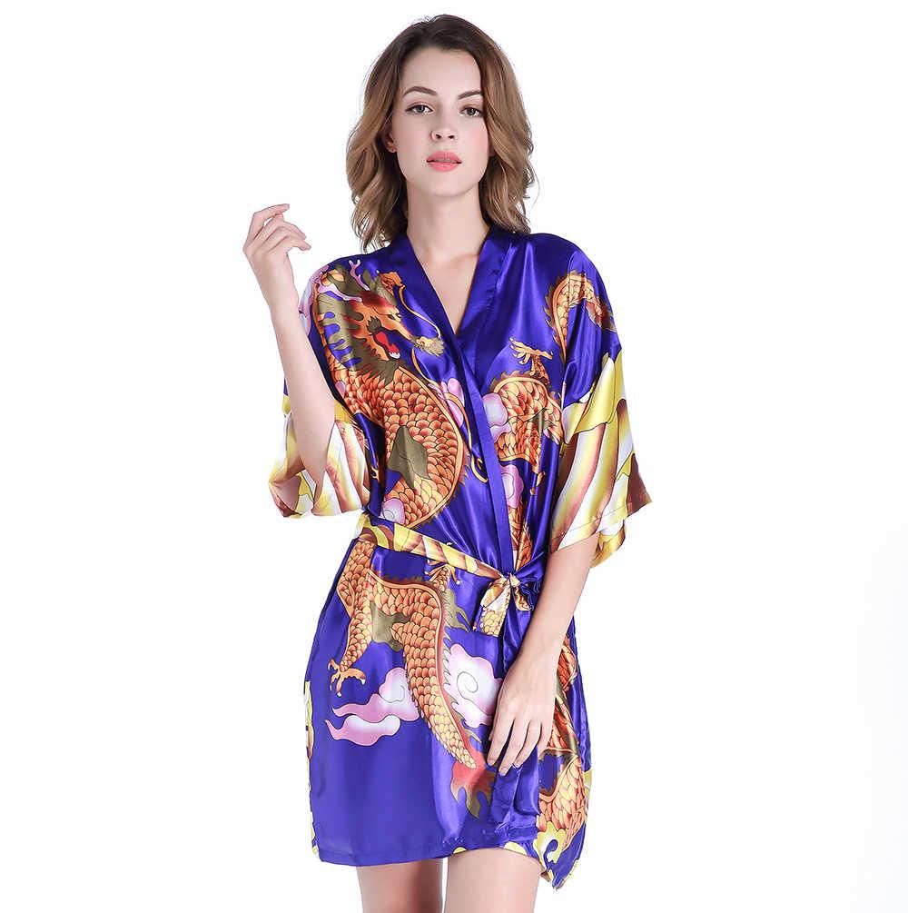 8cb0b1212d03 Chinese Style Satin Summer Sleepwear Dragon Bathrobe Vintage Animal Pattern  Women Above Knee Robe Kimono Gown