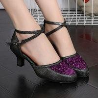 Ladies Closed Toe Modern Dance Shoes Heels Glitter Ballroom Wedding Party Dance Shoes Tango Salsa Dancing