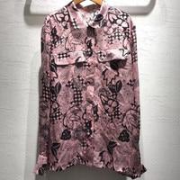 Шелковая блузка с принтом Топ Женская летняя 2019 Женская Офисная Высококачественная блузка с длинным рукавом модная женская новая блузка