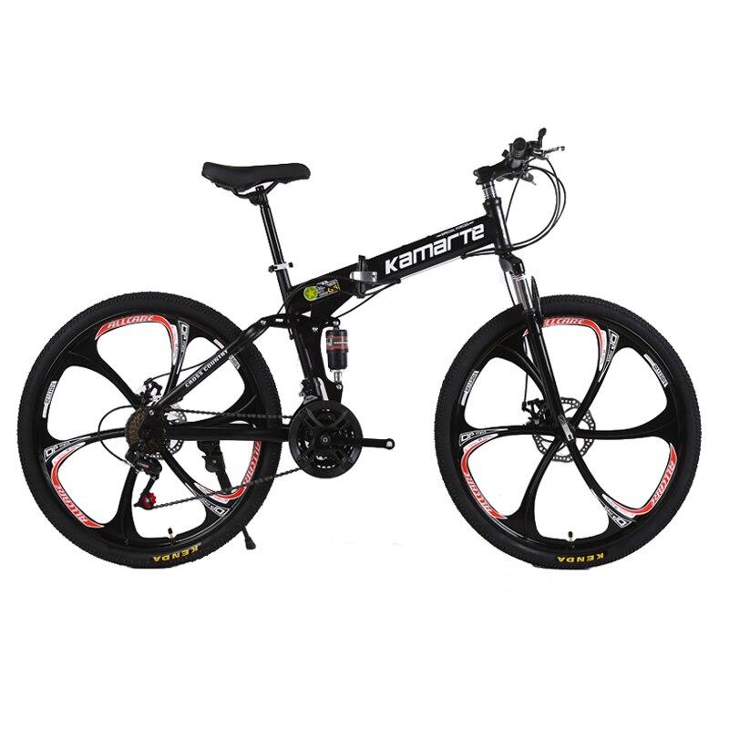 26 pouces pliant vtt freins à double disque vélo 21 vitesse vélo pliant 6 couteau roue et 3 couteau roue montagne vélo