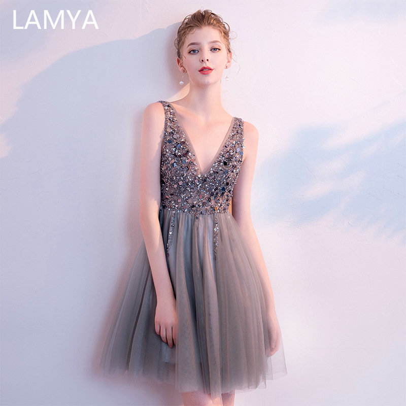 LAMYA Backless Beading Tulle Formal Dress 2019 Luxury V-neck Evening Party Dress Short Prom Gown Custom Made Robe De Soiree