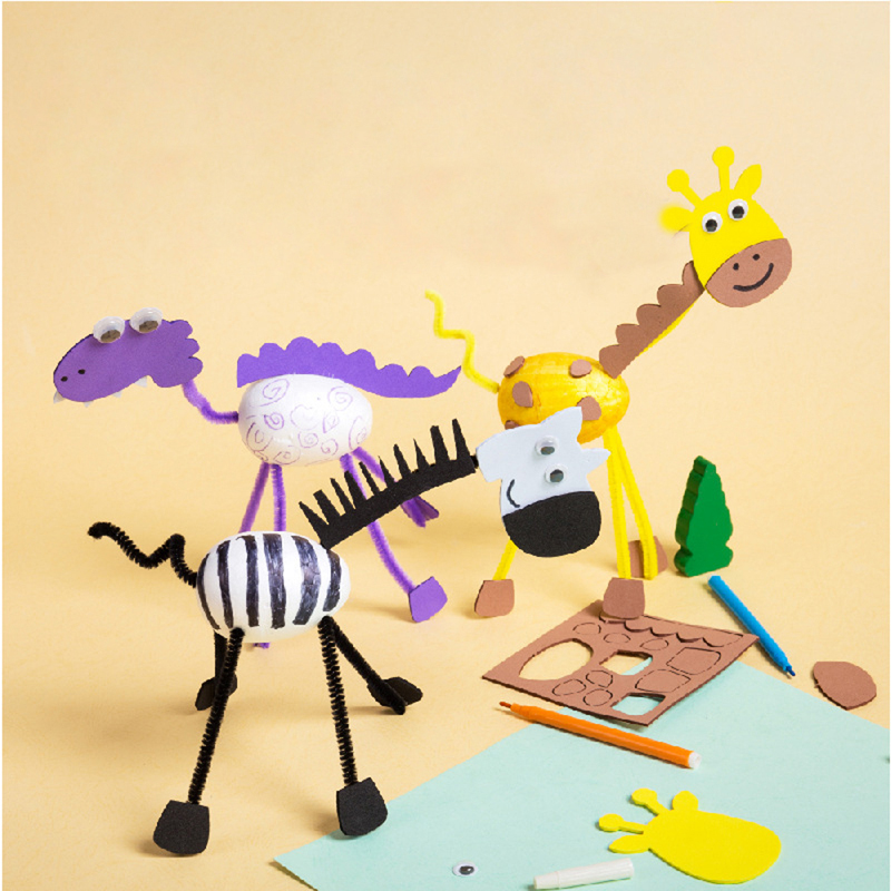 Giraffe Zebra Crafts Toys Kids DIY Painting Egg Homemade 3D Dinosaur Animals Kindergarten Educational Toys For Children Gift