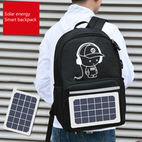 New Oxford Cloth Smart Backpack Fashion Unisex Reflective Strip Backpack Creative Solar Energy Charging Multifunctional Backpack