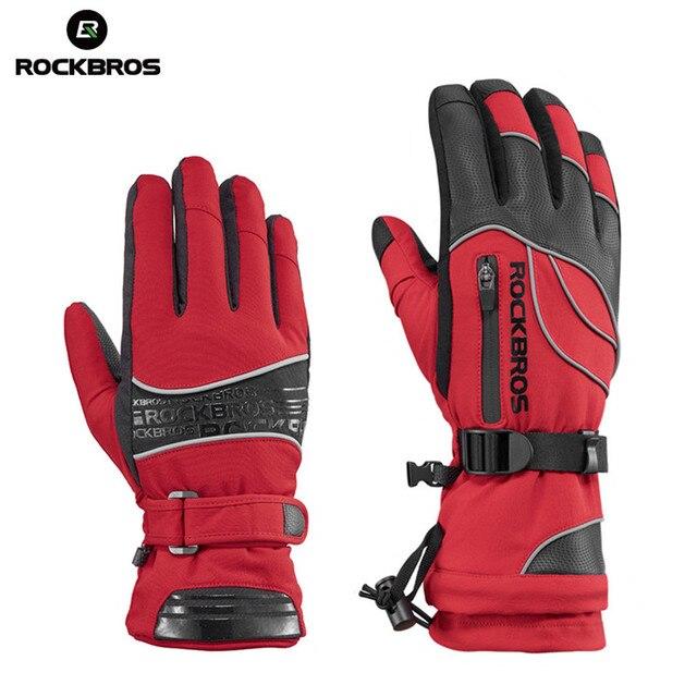 ROCKBROS водостойкие лыжные-30 перчатки зимние ветрозащитные снегоходные сноубордические перчатки зимние мужские женские сноубордические перчатки для девочек лыжные перчатки