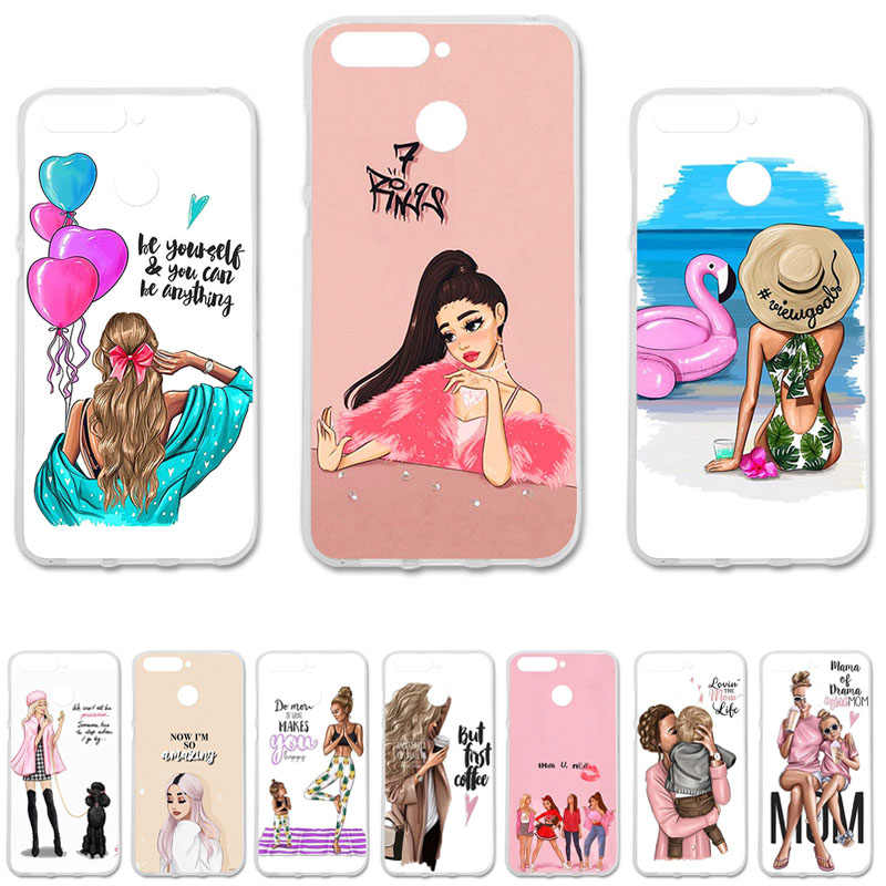 Black Brown Hair Baby Mom Girl Silicone Case For Huawei Y6 Prime 2018 Cover Honor 7A Pro 7C ATU-AL10 TL10 AUM-L41 5.7""