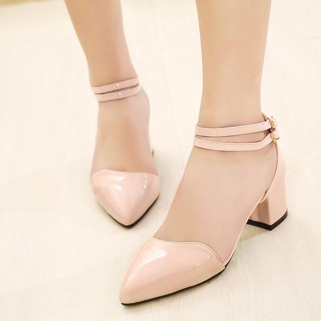 169d5e0194d71 low heels spring autumn fashion ankle strap shoes woman 2014 ladies punk  black red blue patent leather belt buckle A748