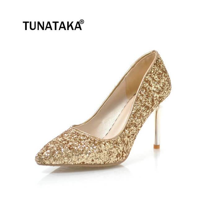 Woman Fashion Sequined Cloth Chunky High Heels Pointed Toe Party Bride Wedding Pumps Shoes
