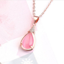 Everoyal Fashion Silver 925 Girls Choker Necklace Accessories Lady Charm Crystal Pink Water Drop Pendant Female Jewelry