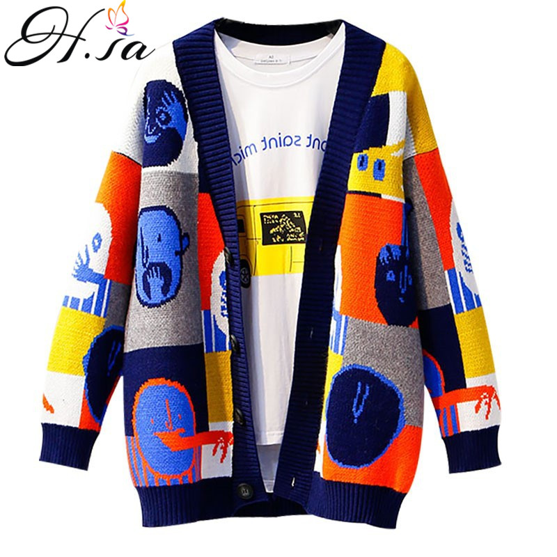 H.SA Women Vintage Sweater Cardigans Casual Patchwork Cute Knit Ponchoes Single Breated Sweater Long Jacket Knit Coat Jumper