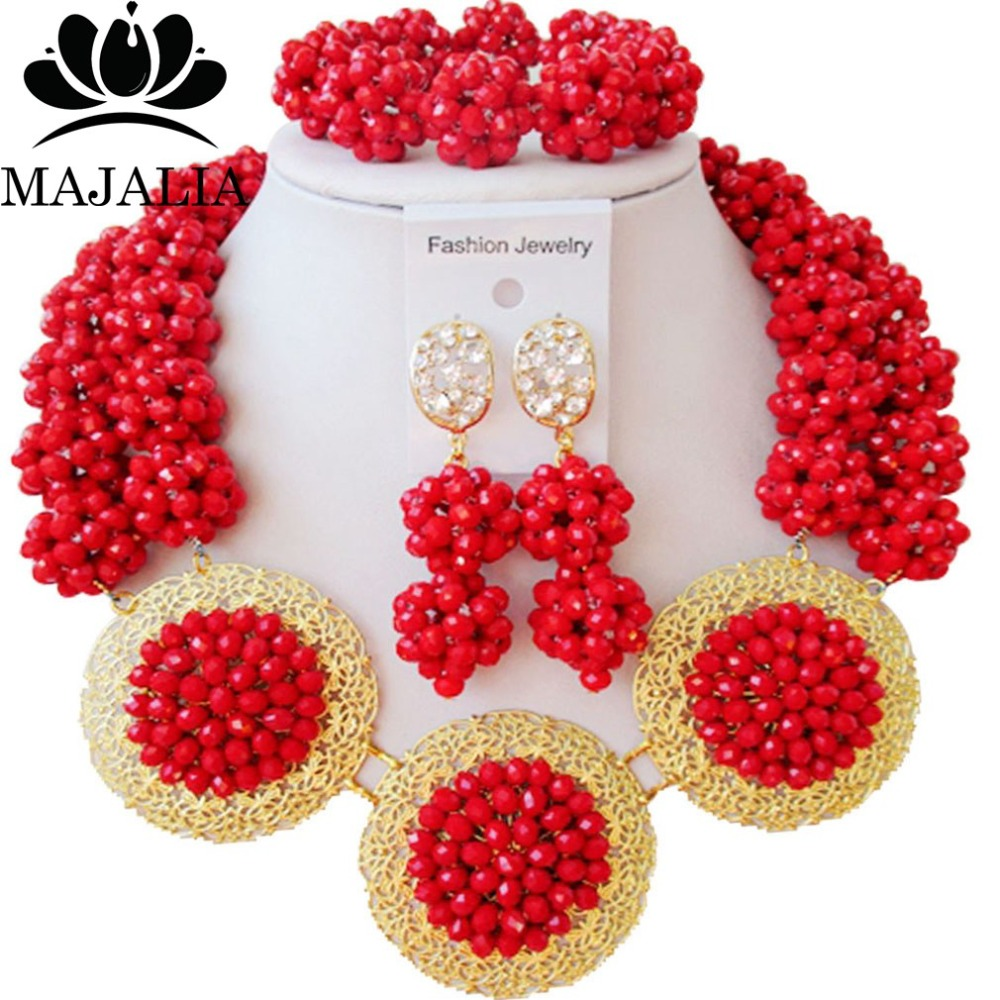 Fashion Nigeria Wedding african beads jewelry set red Crystal necklace bracelet earrings Free shipping VV-106Fashion Nigeria Wedding african beads jewelry set red Crystal necklace bracelet earrings Free shipping VV-106
