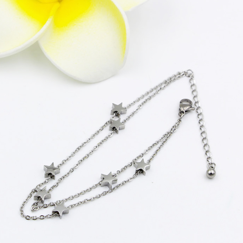 Highly Polished Beautiful Double-Layered Chain And Star Anklet Top Quality Titanium Steel Jewelry Woman Child Best Gift 2
