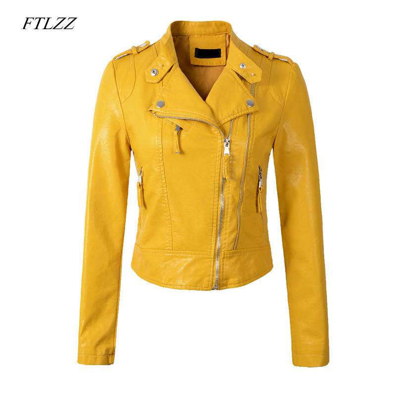 Ftlzz New Women Pu   Leather   Jacket Coat Short Design Epaulet Zippers Pu Motorcycle Faux Soft   Leather   Punk Black Yellow Outwear