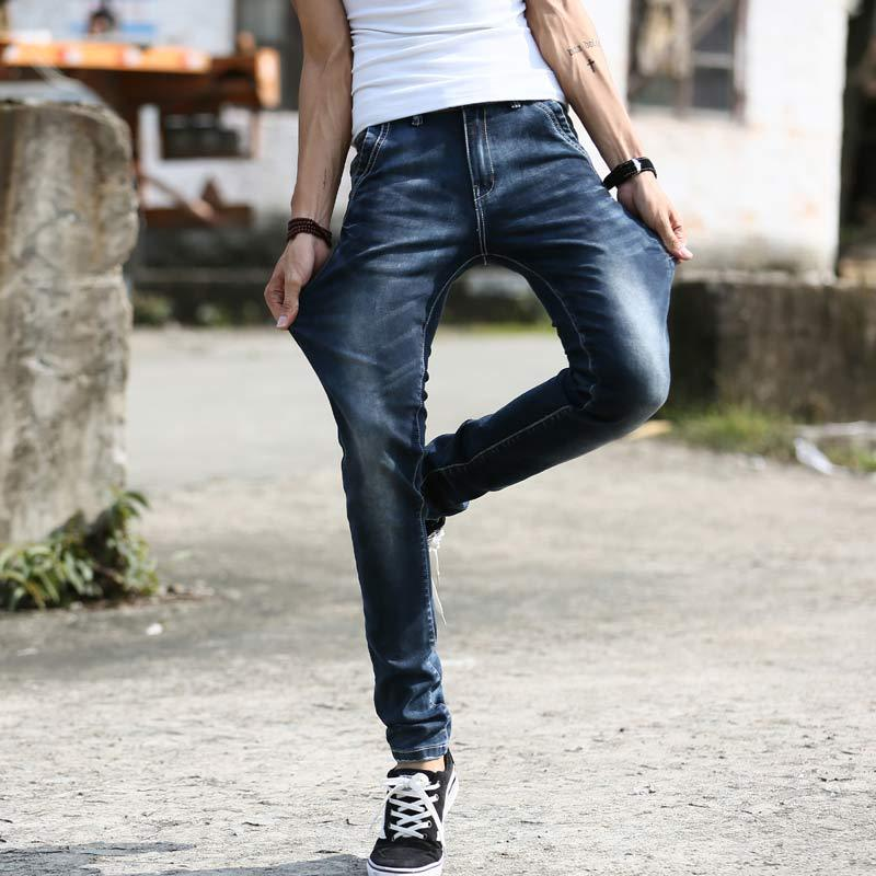 New 2015 Fashion Elastic Ripped Jeans For Men Casual Slim Fit Korean