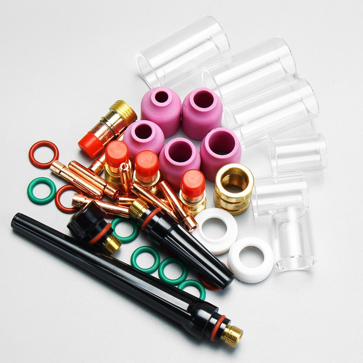 4/3 2mm Wig-schweißbrenner Stubby Gas Objektiv Glas Pyrex Tasse Kit Für Wp-17/18/26 Serie Schweißwerkzeug Zubehör Einfach Zu Verwenden 6/2 45 Stücke 1/1
