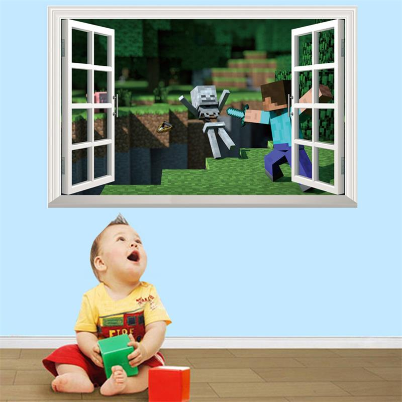 Newest Minecraft 3D Wall Stickers For Kids Rooms Minecraft Steve Wallpaper Mural Home Decor Popular Games Removable Wall Decals