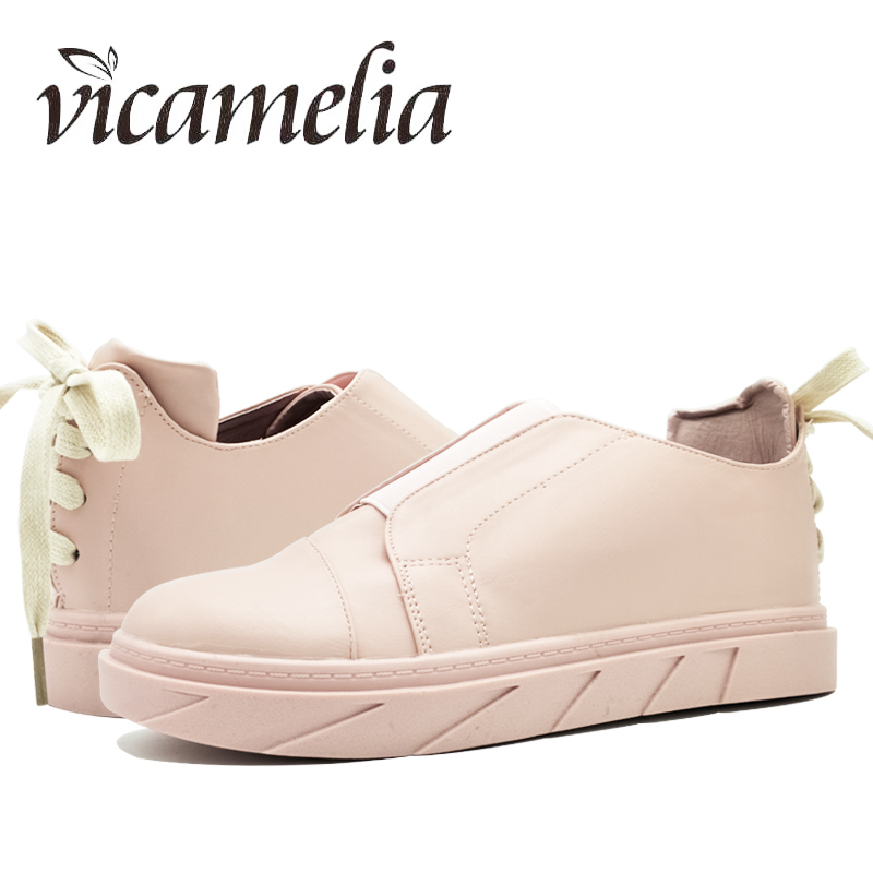 Vicamelia 2018 Fashion Women Cross Tied Loafers Round Toe Slip On Women Casual Flats Shoes Pink Black Women Bowie Sneakers 078 siketu sweet bowknot flat shoes soft bottom casual shallow mouth purple pink suede flats slip on loafers for women size 35 40