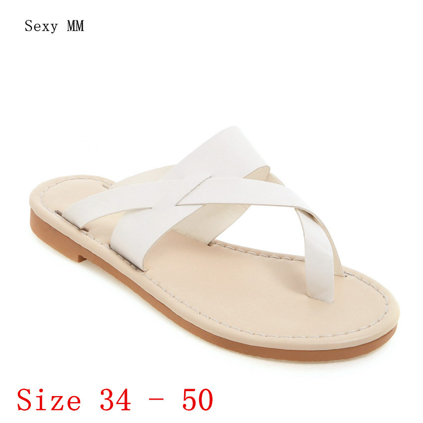Summer Shoes Slides Women <font><b>Flat</b></font> Gladiator <font><b>Sandals</b></font> Woman Flip Flops Slippers <font><b>Sandals</b></font> Plus Size 34-40 41 42 43 44 45 46 47 48 49 50 image