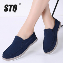 STQ 2020 Autumn Women Flats Shoes Ballerina Flats Suede Leather Oxford Shoes For Women Slip On Ballet Flats Loafers Shoes 582
