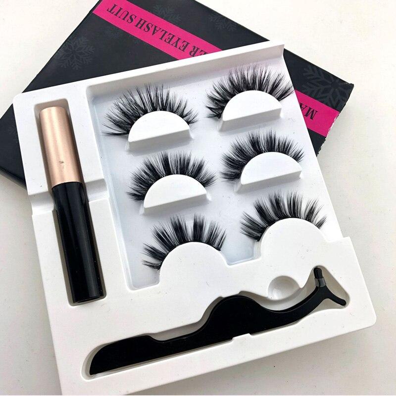 3 Pairs Magnetic Liquid Eyeliner& Magnetic False Eyelashes & Tweezer Set Magnet Eyelash Long Lasting Eyelash Extension Tools