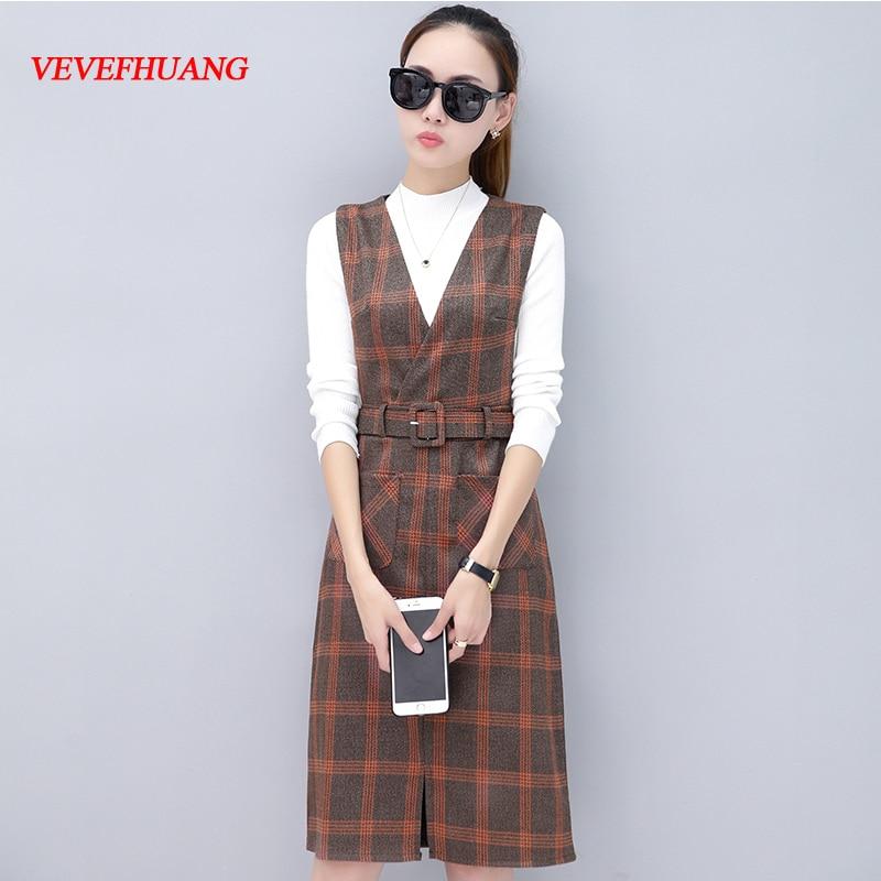 New Autumn Women Knee-Length Dress Plaid Slim Straps Vest Dresses Orange Blue With White Sweater L0851