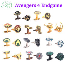RJ Marvel Avengers 4 Endgame Cufflinks Captain America Loki Thanos Iron Man Hulk Men Tie Clips Buttons Jewelry Gift