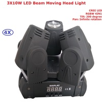 4Pcs\/Lot 60W Non-Waterproof LED Moving Head Dj Lights High Quality 3X10W LED Beam Moving Head Stage Lighting CREE LED 100-240V