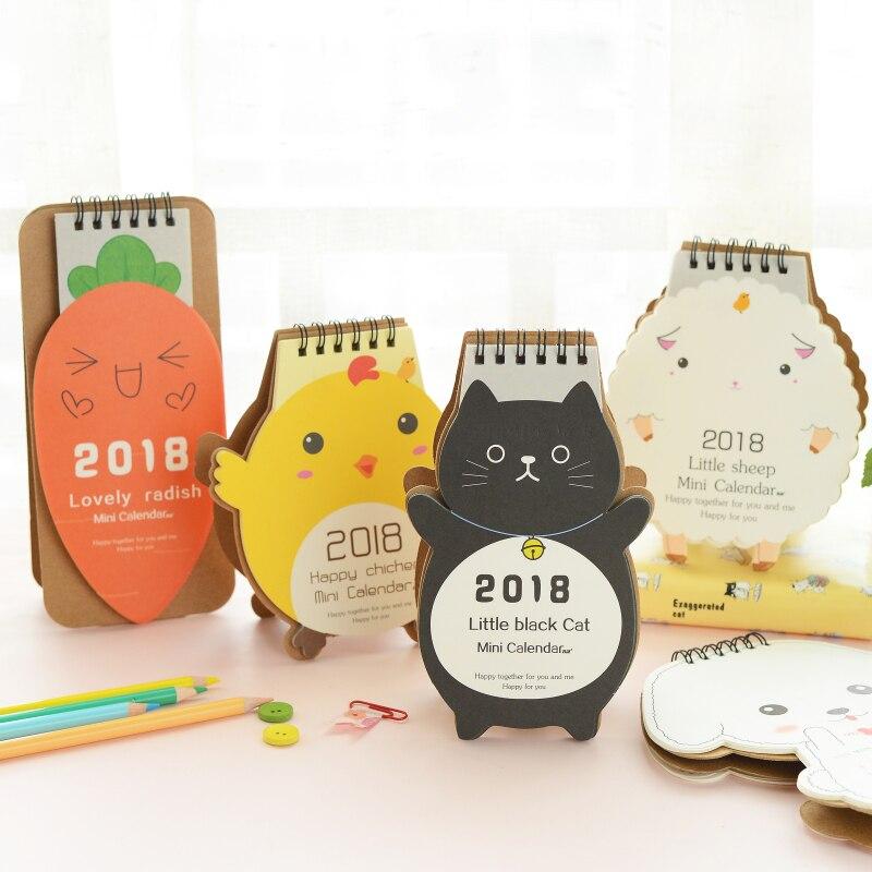 Calendar 2018 Cute Cartoon Deisgns Cat/Puppy Desktop Paper Calendar dual Daily Scheduler Table Planner Yearly Agenda Organizer