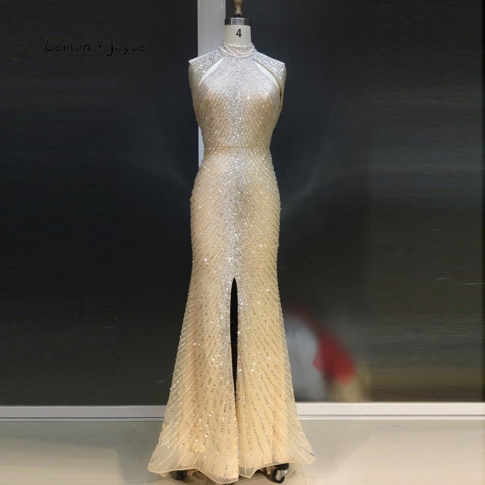Lemon Joyce Formal Evening Dresses 2019 High Neck Beading Beckless Elegant Long Mermaid Floor Length Party