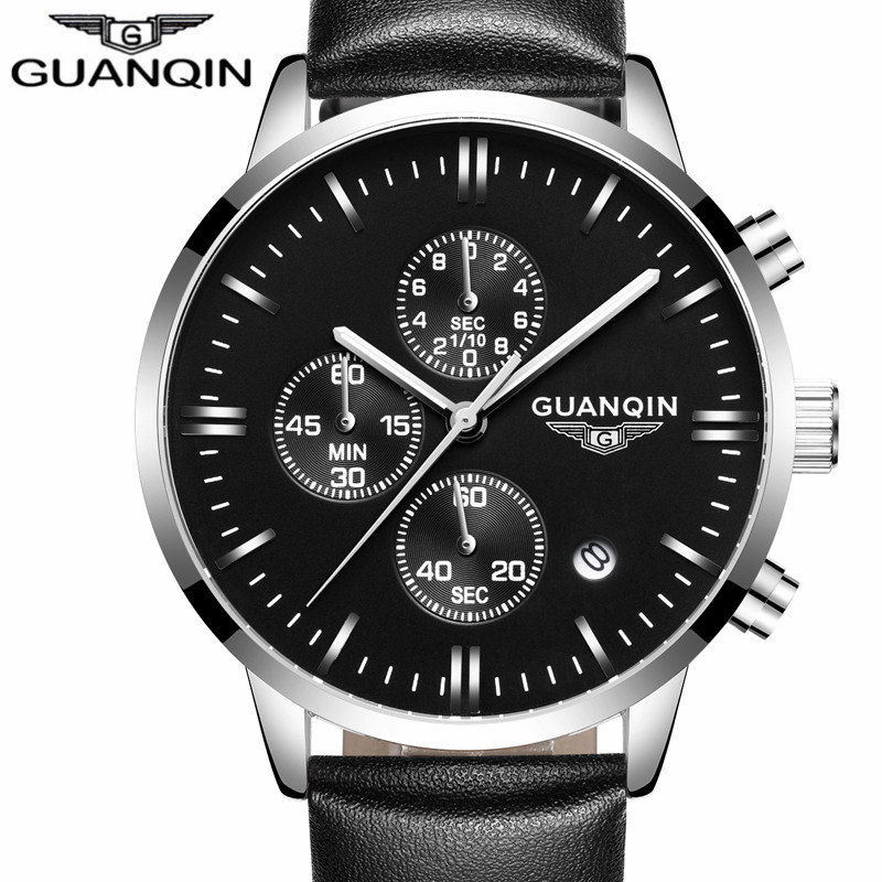 relogio masculino GUANQIN Mens Watches Top Brand Luxury Chronograph Luminous Clock Fashion Men Sport Casual Leather Quartz Watch mens watches top brand luxury guanqin men fashion moon phase luminous wristwatch sport leather quartz watch relogio masculino